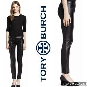 Tory Burch Black Paneled Faux Leather Mabely Pants